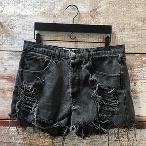 Vintage // distressed denim shorts